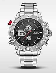 cheap -WEIDE Men's Sport Watch / Military Watch Japanese Alarm / Calendar / date / day / Water Resistant / Water Proof Stainless Steel Band Black / LED / LCD / Dual Time Zones / Stopwatch