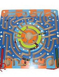 cheap -Wooden Labyrinth Building Blocks Magnetic Maze Educational Toy Square Magnetic Classic Boys' Toy Gift
