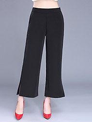 Plus Size Wide Leg Chinos Pants,Casual/Daily Work Sexy Simple Solid Split High Rise Zipper Cotton Micro-elastic Summer