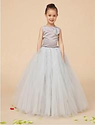vestito dalla ragazza di fiore di lunghezza del pavimento dell'abito di sfera - collo di gioiello sleeveless di organza da ydn