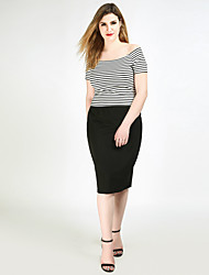 cheap -Really Love Women's Daily Work Midi Skirts,Cute Casual Sexy Pencil Polyester Spandex Cotton Blends Solid Spring Summer