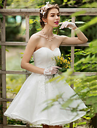 cheap -Princess Sweetheart Knee Length Lace Wedding Dress with Crystal Beading Appliques Flower by LAN TING BRIDE®