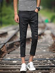 Homme Street Chic Punk & Gothic Taille Normale Micro-élastique Jeans Pantalon,Droite Slim Mode Toile de jean Déchiré Couleur Pleine