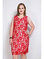 cheap -Really Love Women's Party Daily Plus Size Vintage Casual Sexy Shift Sheath Lace Dress,Color Block V Neck Midi Sleeveless Rayon Polyester All Seasons