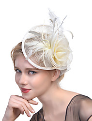 abordables -Tulle Plume Filet Coiffure Casque