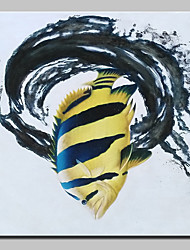 cheap -Hand-Painted Modern Abstract Fish Animal Oil Painting On Canvas Wall Art Picture For Home Decoration Ready To Hang
