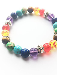 cheap -Fashion Natural Rainbow Colorful Agate Stone Beads Bracelet