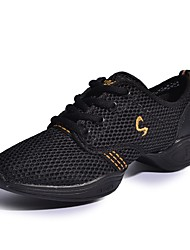 cheap -Women's Dance Shoes Leather Synthetic Dance Sneakers Sneakers Low Heel Performance Black/Gold Pink/Black Fuchsia White