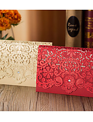 Top Fold Wedding Invitations 50-Invitation Cards Flora Style Hard Card Paper Flower Trim