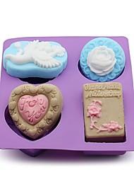 1Pcs  22Cm*18.5Cm*3Cm The Cake Baked Mold Handmade Soap Mold The Rose Love Angel Mold