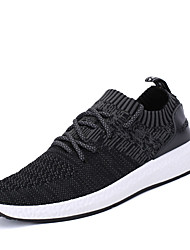 Men's Athletic Shoes Comfort Fabric Spring Fall Athletic Outdoor Walking Lace-up Flat Heel Black Gray Dark Grey Under 1in
