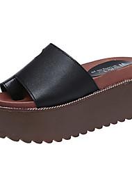 Damer Sandaler Komfort PU Forår Sommer Afslappet Formelt Komfort Flad hæl Hvid Sort 7,5-9,5 cm