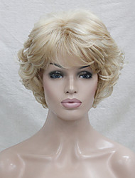cheap -New Wavy Curly Golden Blonde Mix Short Synthetic Hair Full Women's  Wig For Everyday