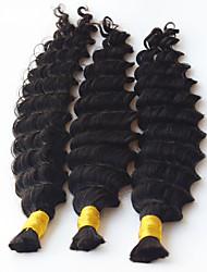 Cheveux en tressage humain à grande profondeur sans traces de trame avec cheveux humains bouclés pour tresses micro tressées 3 x