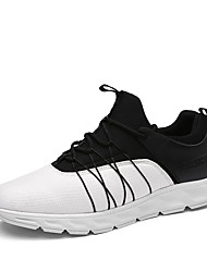 Hiking Shoes Men's Athletic Shoes Comfort Knit Leather Fall Winter Athletic Casual Outdoor  Comfort Gore Flat Heel Black/White Black White Flat