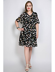 Cute Ann Women's Plus Size Casual/Daily Party Sexy Vintage Cute A Line Loose Chiffon Dress,Print V Neck Knee-length ½ Length Sleeve Polyester