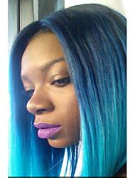 abordables -Perruque Synthétique Droit Coupe Carré Cheveux Synthétiques Raie Centrale / Cheveux Colorés Noir Perruque Femme Sans bonnet Bleu