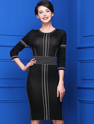 Standard Pullover Da donna-Casual Semplice Tinta unita Rotonda Mezze maniche Acrilico Primavera Medio spessore Media elasticità