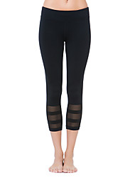 cheap -Women's Fashion Lace Patchwork Breathable Quick Dry Compression Stretch Yoga Sports Tights Pants Fitness Running Leggings Spring/Summer Black