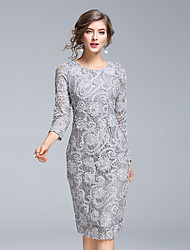 cheap -Women's Simple / Street chic / Sophisticated Bodycon / Sheath / Lace Dress - Embroidered Lace / Flower
