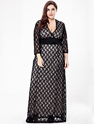 cheap -SWEET CURVE Women's Plus Size Vintage Lace Dress,Solid Deep V Maxi Long Sleeves Polyester Summer Fall High Rise Micro-elastic Medium