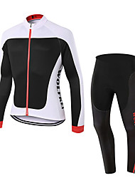cheap -WOLFKEI Long Sleeves Cycling Jersey with Tights - Red Bike Clothing Suits, 3D Pad, Quick Dry, Breathable, Sweat-wicking, Spring Summer,