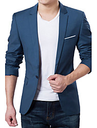 cheap -Men's Daily Work Simple Casual Spring Fall Blazer,Solid Long Sleeve Regular Acrylic Polyester