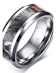 preiswerte -Herrn Ring Silber Wolframstahl Kreisförmig Kreisform Geometrische Form Personalisiert Grundlegend Euramerican Modisch Simple Style Party
