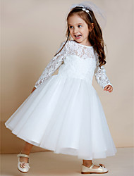 A-Line Tea Length Flower Girl Dress - Tulle Long Sleeves Jewel Neck with Lace by thstylee