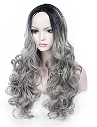 In the Fashion Heat Resistant Synthetic Fiber Hair Wig Body Wave Synthetic Wig Perm or Straighten T1B/Grey Color