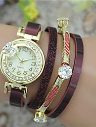 cheap -Women's Fashion Watch Bracelet Watch Quartz Colorful Leather Band Bangle Black White Blue Red Pink
