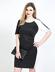 abordables -Gaine Tunique Noir et blanc Robe Femme Décontracté / Quotidien Soirée / Cocktail Grandes Tailles Sexy Vintage simple,Couleur Pleine