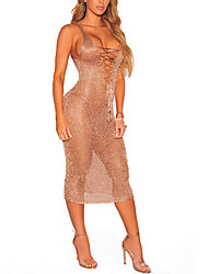 Women's Beach Club Holiday Sexy Simple Bodycon DressSolid Deep V Knee-length Sleeveless Criss-Cross Mesh Spring Summer High Rise Micro-elastic