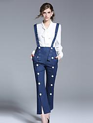 economico -Da donna A vita alta Romantico Anelastico Largo Tuta da lavoro Pantaloni,A strisce Cotone Primavera Estate