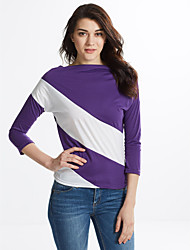 cheap -Women's Casual Loose-fitting Color Block T-shirt