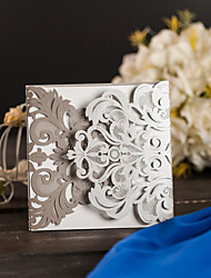 Wrap & Pocket Wedding Invitations Invitation Cards Modern Style Pearl Paper Sided Hollow Out