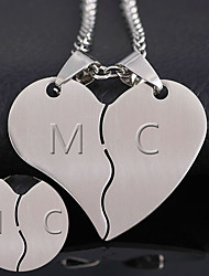 cheap -The thickness of 1.2mm can be processed 316 heart-shaped titanium accessories Korean new couple combo stainless steel pendant
