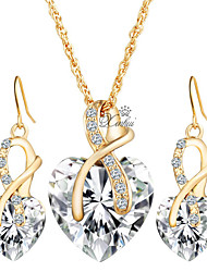 cheap -Women's AAA Cubic Zirconia Jewelry Set - Cubic Zirconia Heart Euramerican Include Bridal Jewelry Sets Red / Green / Blue For Christmas Gifts / Wedding / Party / Special Occasion / Anniversary