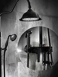 cheap -Antique Centerset Rain Shower Ceramic Valve Three Holes Single Handle Three Holes Oil-rubbed Bronze , Shower Faucet