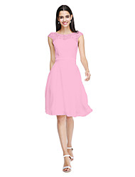 cheap -Product Sample A-Line Jewel Neck Knee Length Chiffon Lace Bridesmaid Dress with Bow(s) Sash / Ribbon by LAN TING BRIDE®