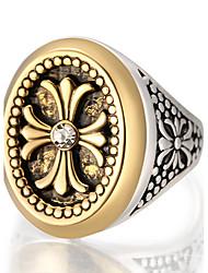 preiswerte -Herrn Ring Statement-Ring Golden Aleación Kreisförmig Geometrische Form Personalisiert Luxus Einzigartiges Design Retro Schmuck mit