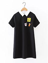 Damen Lose Etuikleid T Shirt Kleid-Ausgehen Lässig/Alltäglich Einfach Street Schick Solide Druck Hemdkragen Knielang Übers Knie Kurzarm