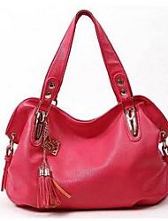 Donna Sacchetti Per tutte le stagioni PU (Poliuretano) Tote per Casual Nero Arancione Rosso Rosa Marrone