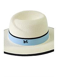 Straw Hats Womens' Letter M Sun Hat Summer Folding Color Block Outdoor Tourism Beach Wide Brim Hat Peaked Cap