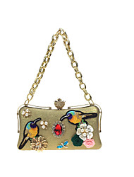 Women Bags All Seasons PU Evening Bag with Rhinestone Satin Flower Pearl Detailing Metal Chain Floral Chain Embroidered for Wedding