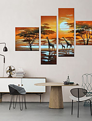 cheap -Landscape Oil Painting Three Giraffes Framed Handmade Wall Art For Home Decoration