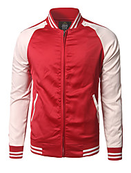 cheap -Men's Sports Going out Active Street chic Summer Fall Jacket,Color Block Round Neck Long Sleeve Regular Others