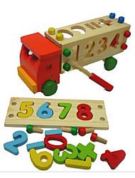 preiswerte -Bausteine Steckpuzzles Mathe Spielzeug Spielzeuge LKW Holz Kinder Stücke