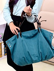 Women Bags All Seasons Canvas Tote Ruffles for Casual Formal Office & Career Blue Black
