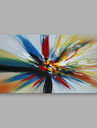 cheap -Ready to hang Stretched Hand-Painted Oil Painting on Canvas Wall Art Abstract Contempory Blue Orange One Panel
